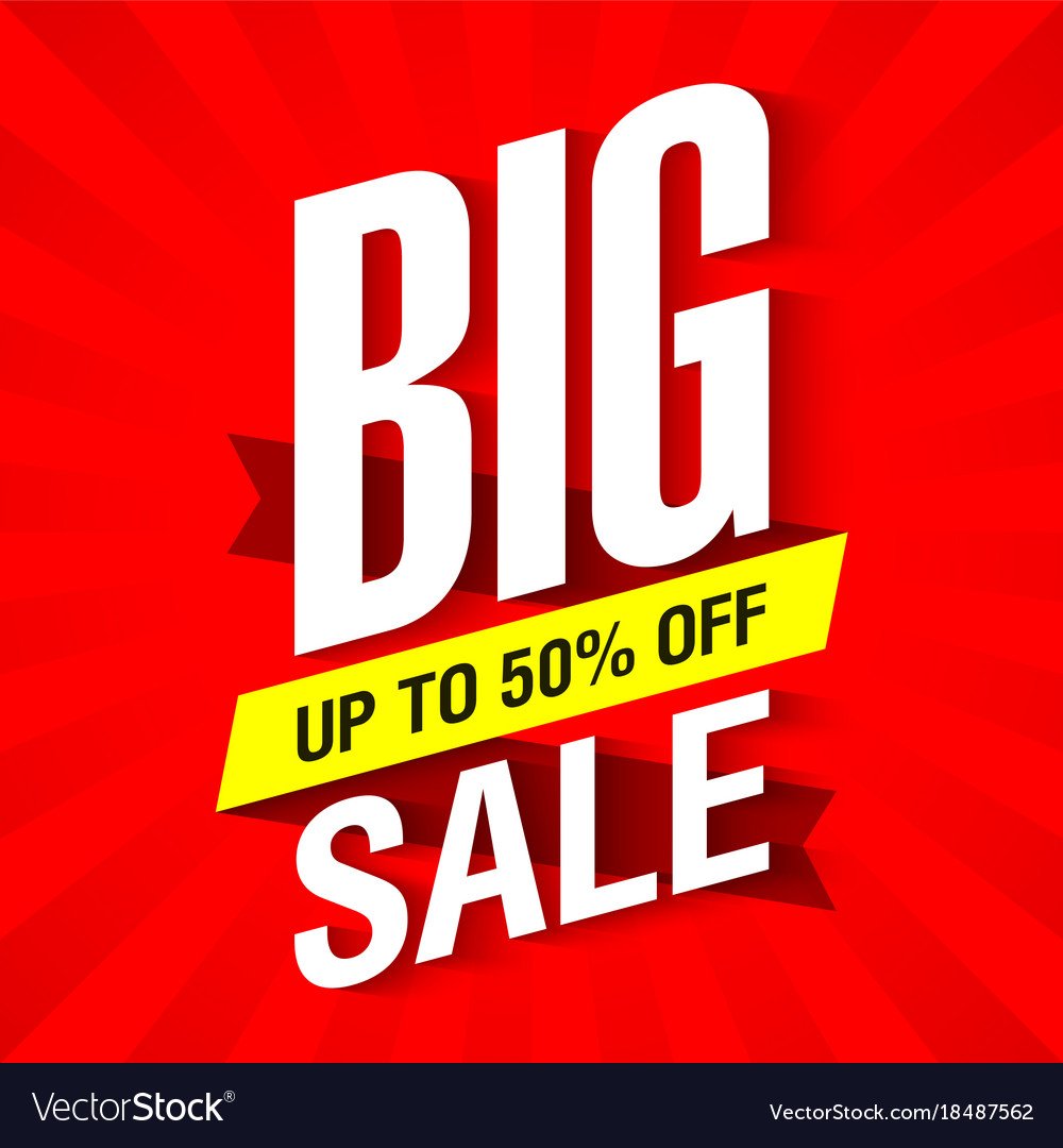 a53e3cc131b Big sale banner design template up to 50 off Vector Image