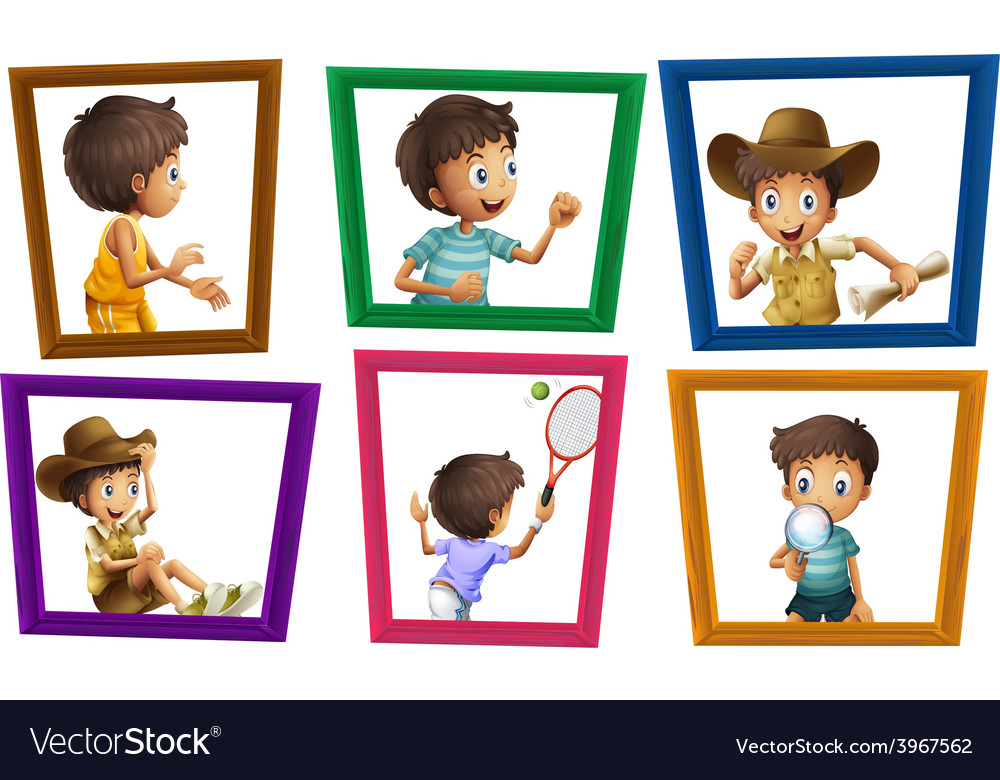 Boys and photo frames Royalty Free Vector Image