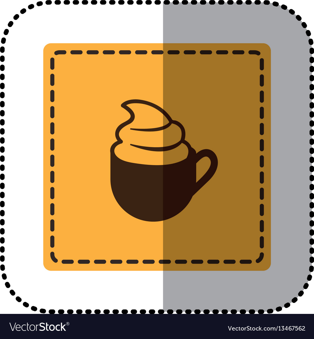 Color emblem cup coffee with cream icon vector image