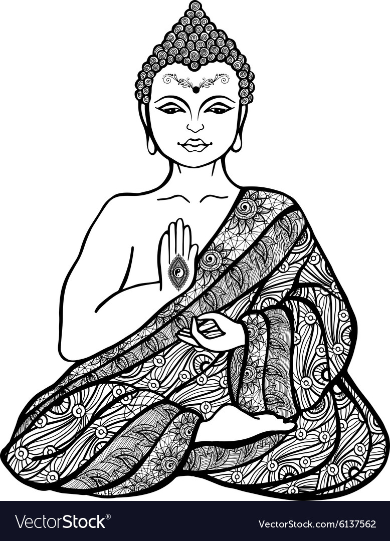 Decorative buddha sketch vector image