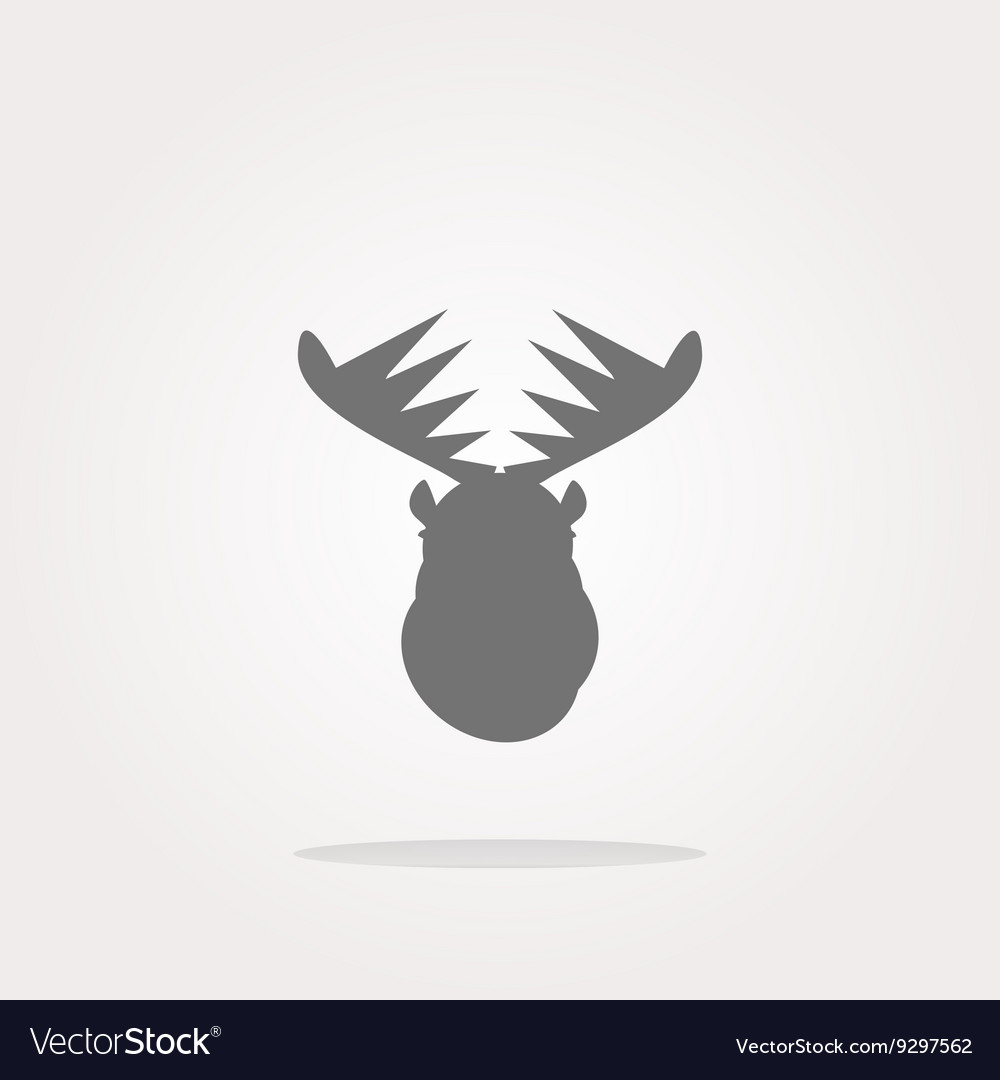 Deer head on web icon button isolated on