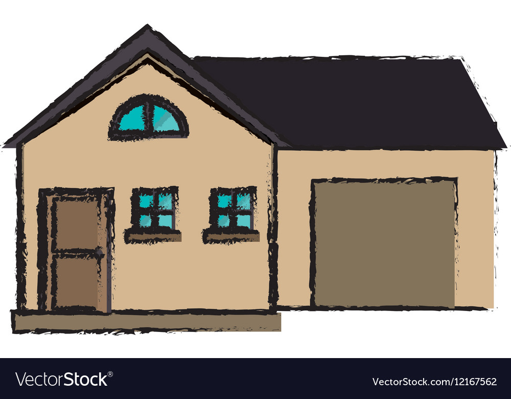 Drawing house modern style with garage