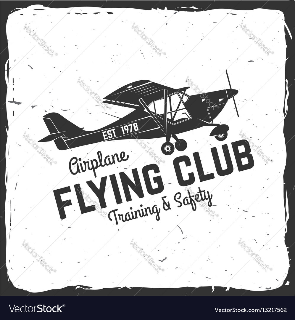 Flying club retro badge vector image