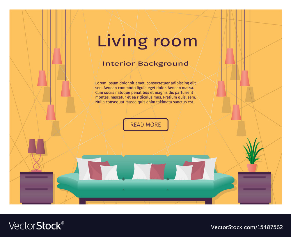 Graceful bright living room interior banner for
