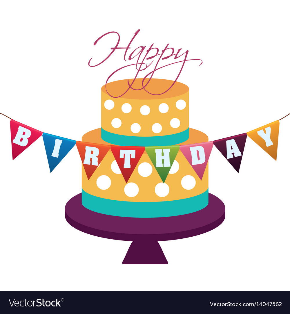 Tremendous Happy Birthday Cake Decorative Dots Garland Vector Image Funny Birthday Cards Online Inifodamsfinfo