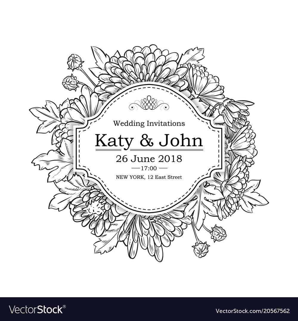 Invitation with chrysanthemum flowers