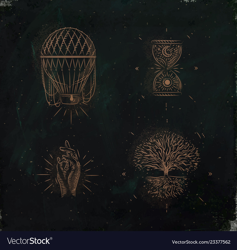 Magic and mystic signs tree life green