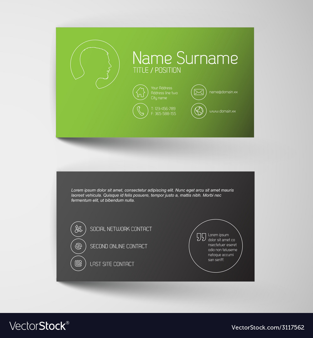Modern green business card template with simple vector image