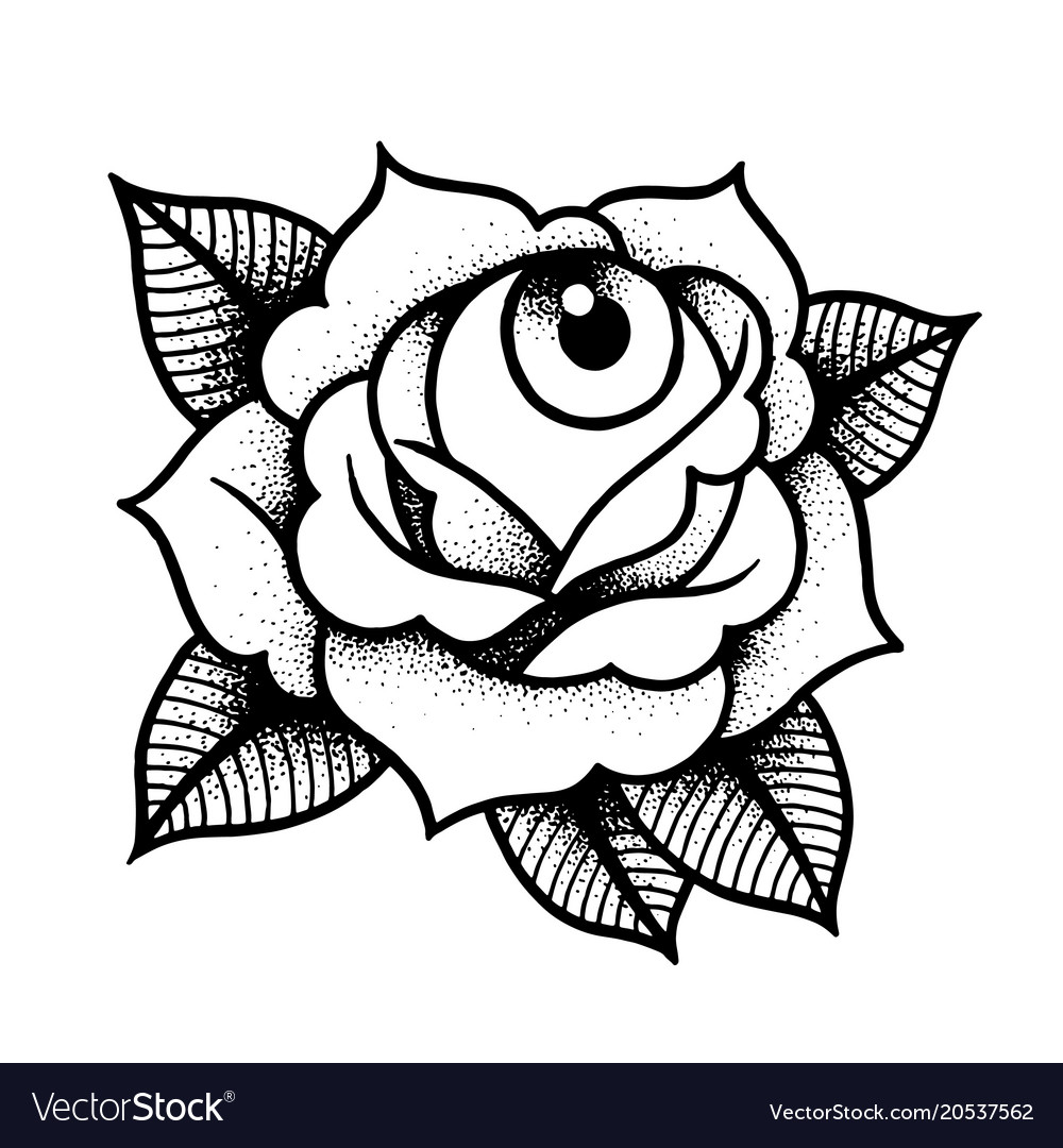 Old School Rose Tattoo With Eye Royalty Free Vector Image
