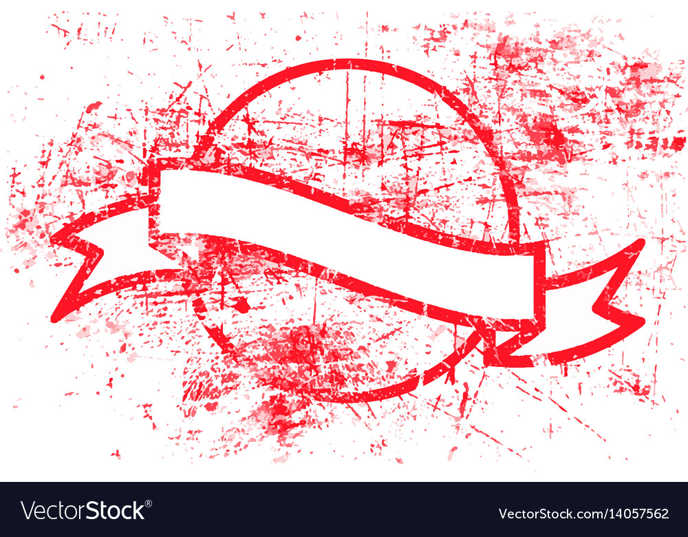 Red circle grunge rubber stamp and ribbon