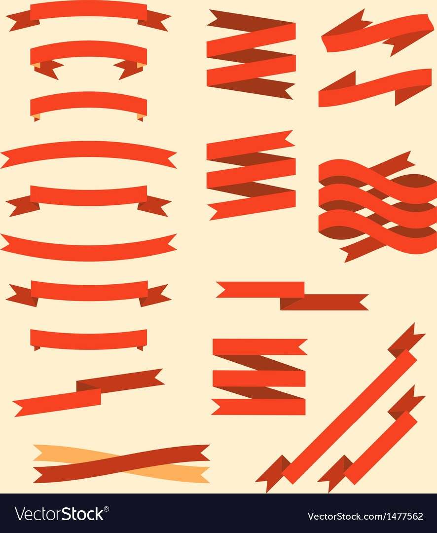 Retro flat ribbons set vector image