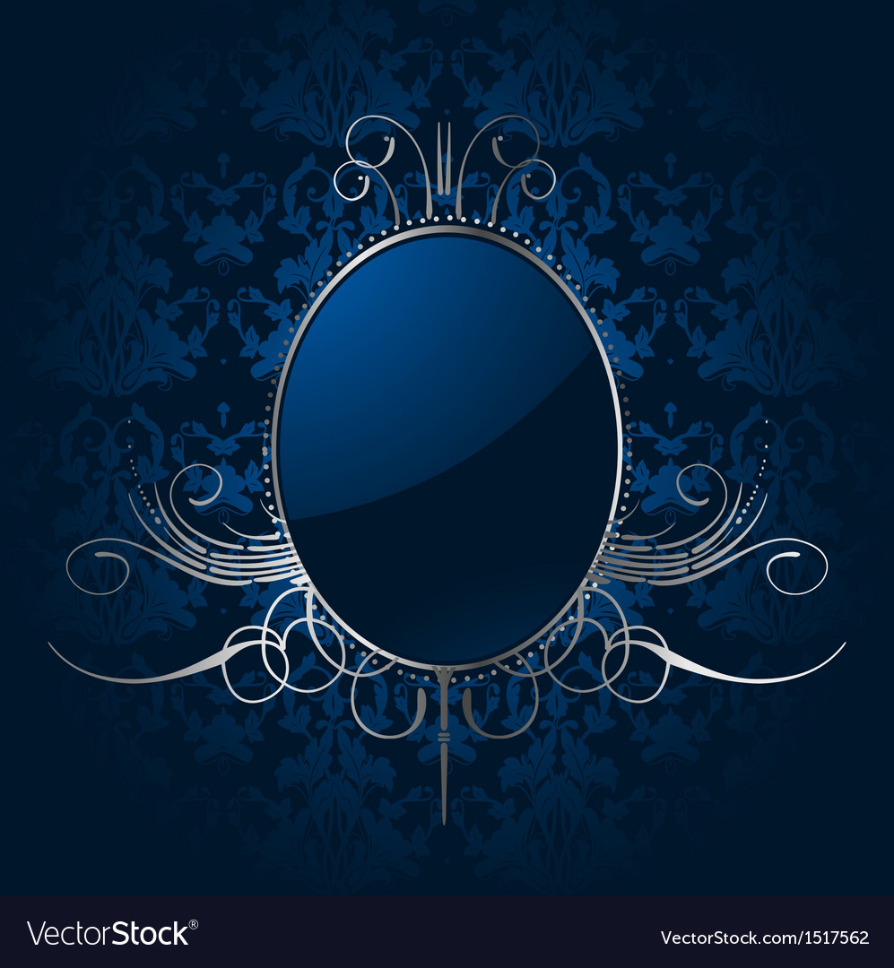royal blue background with silver frame royalty free vector