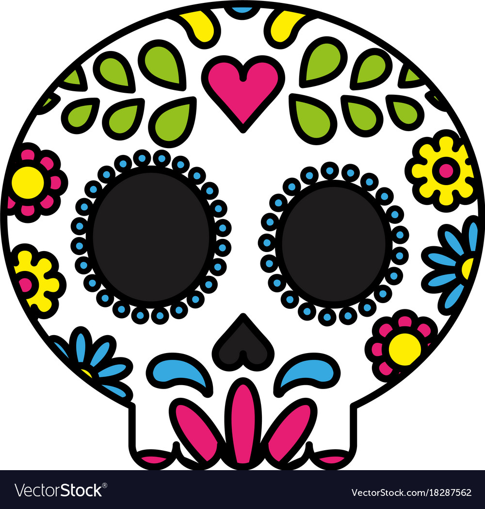 Sugar skull colorful floral isolated black outline