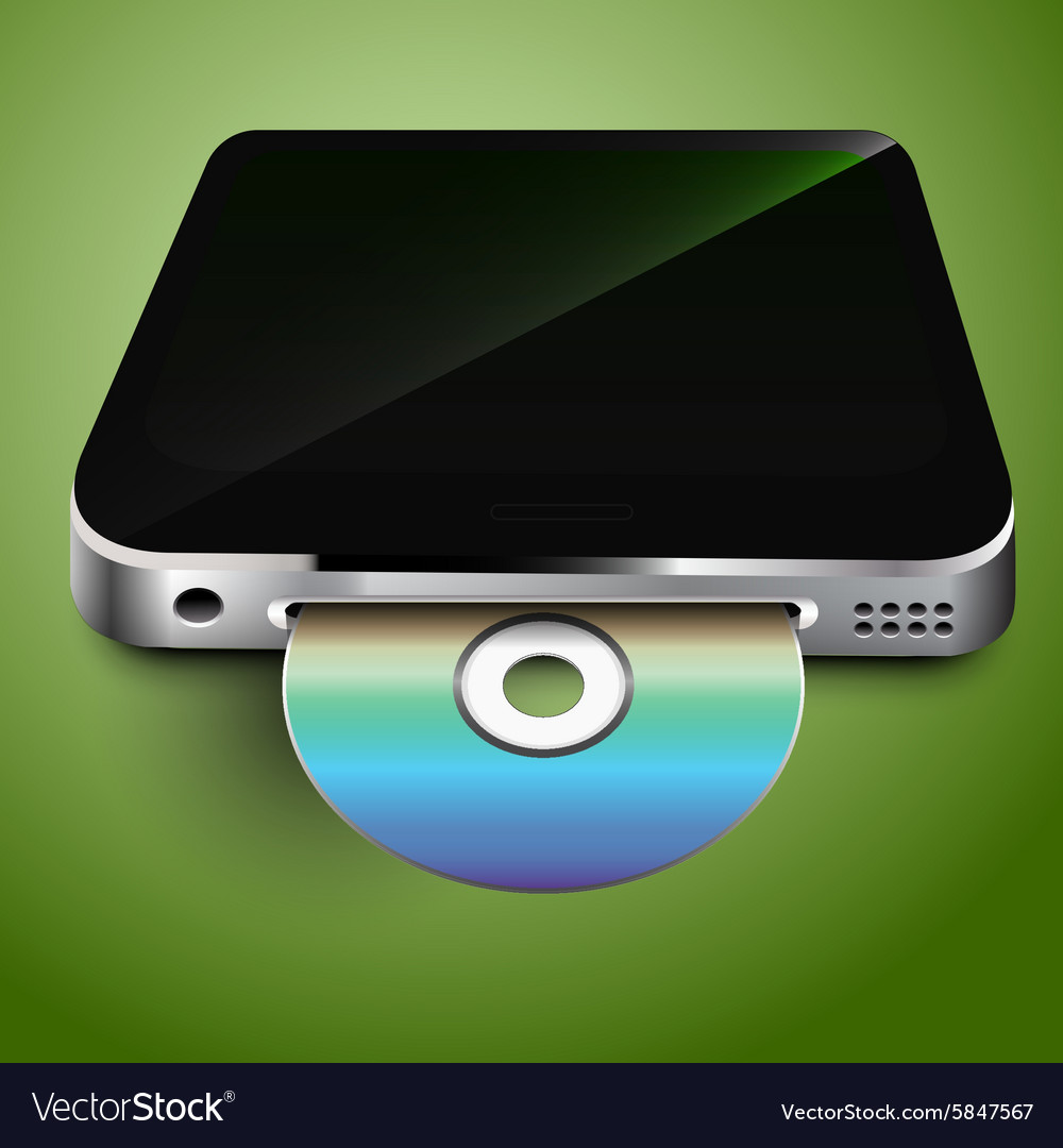 CD in the mobile device vector image