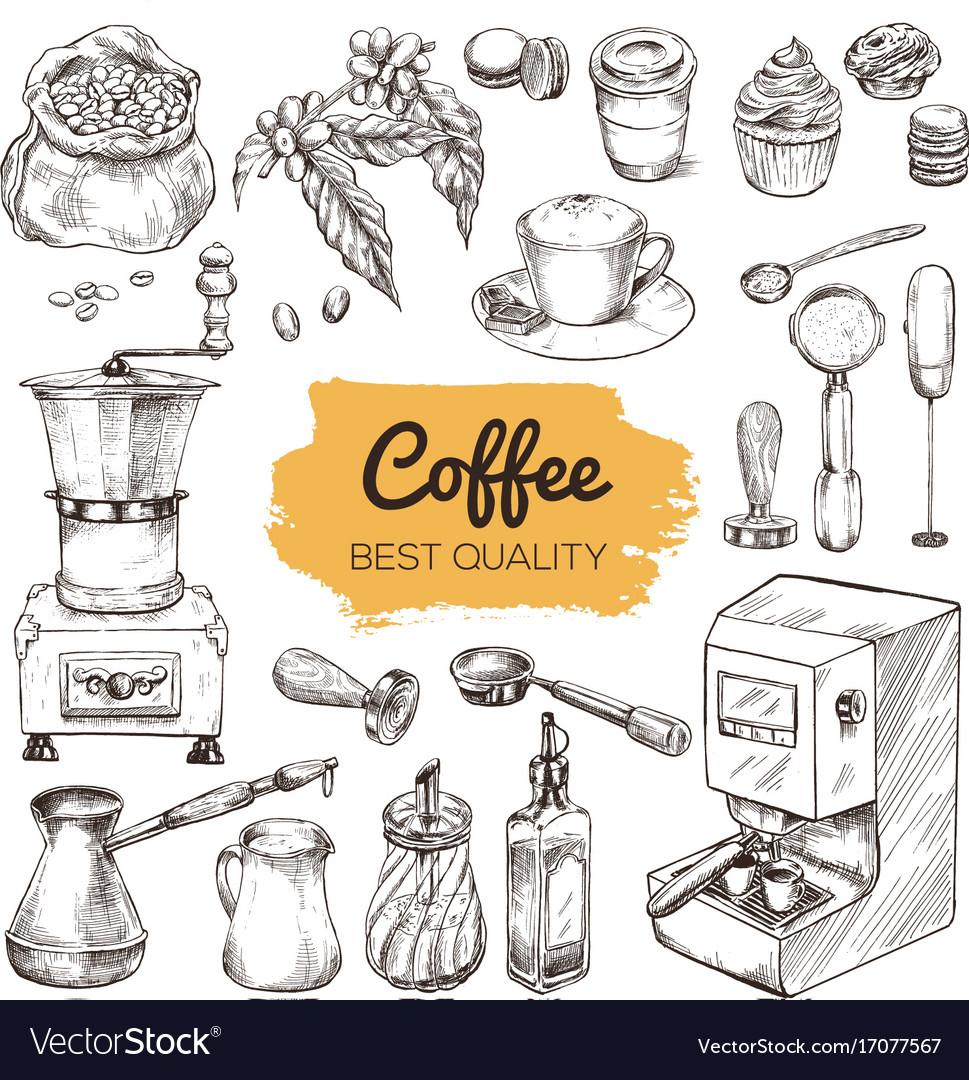 Coffee set of hand drawn elements