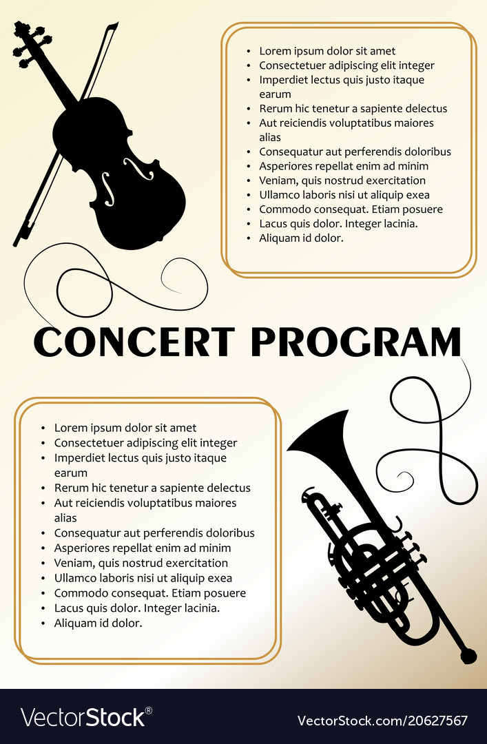Music Program Template | Concert Program Template With Violin And Trumpet Vector Image