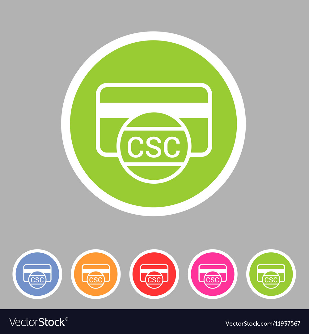 CSC card security code credit icon flat web sign