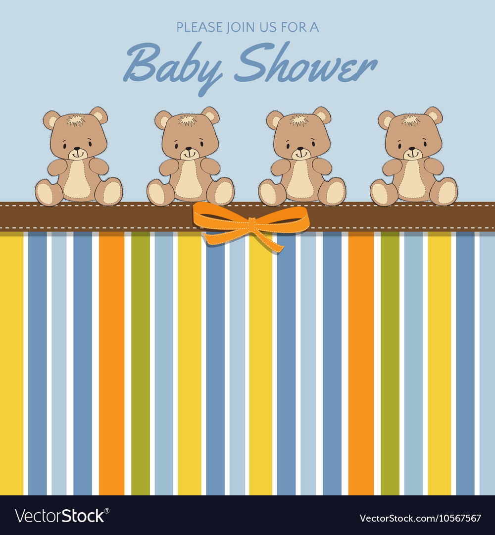 Delicate baby shower card with teddy bears