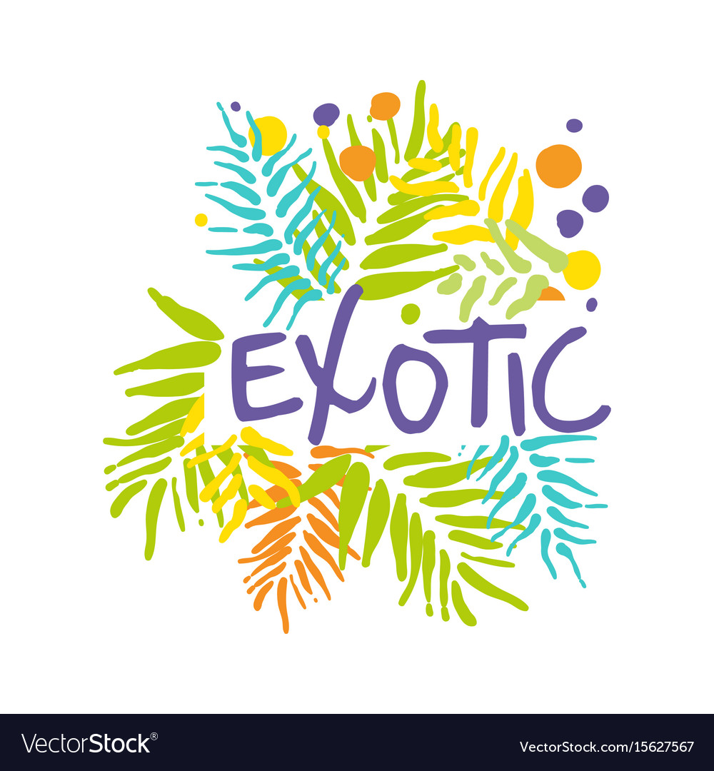 Exotic logo with palm leaves summer vacation