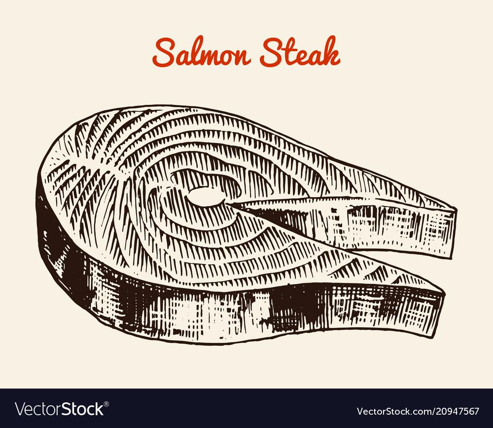Fresh salmon steak river and lake or sea creature