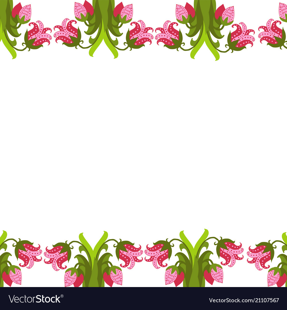Greeting card with seamless floral border perfect
