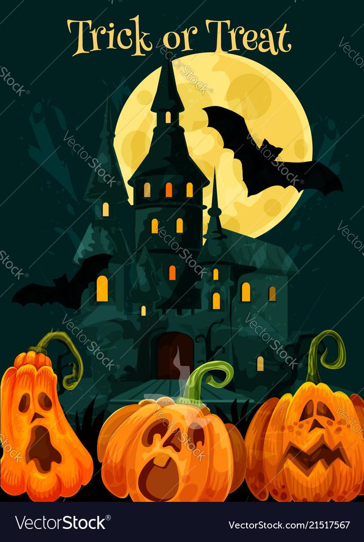 Halloween trick treat pumpkin greeting card