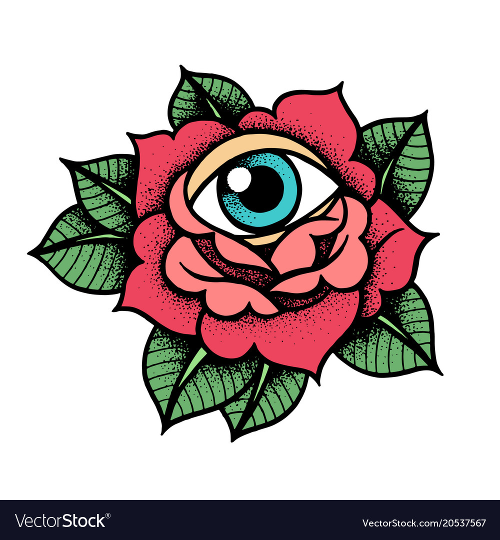 Tattoo Designs Vector Free Download: Old School Rose Tattoo With Eye Royalty Free Vector Image