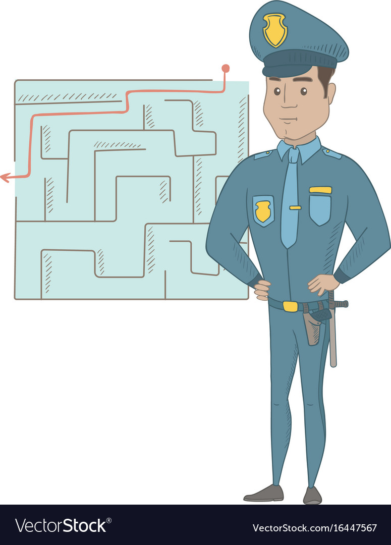 Policeman looking at labyrinth with solution