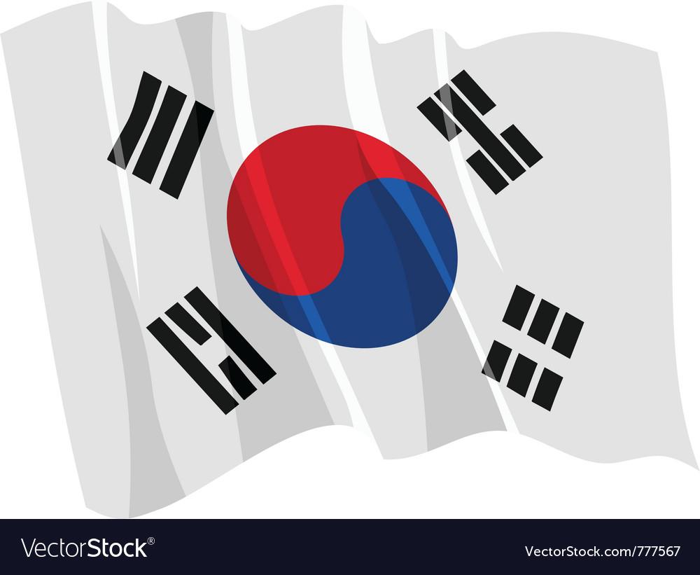 Political waving flag of south korea