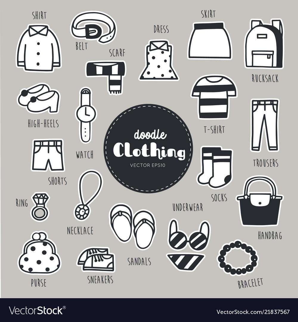 Set of clothing icons doodle
