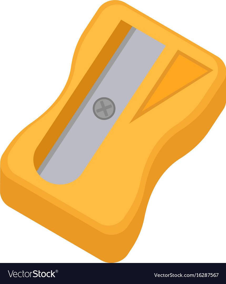 Sharpener for pencils icon flat cartoon style