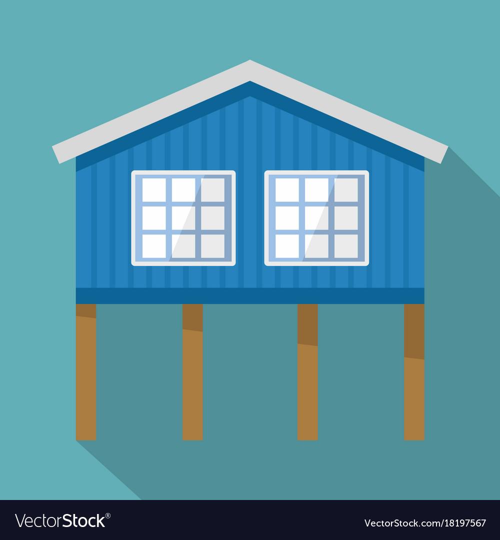 Stilt house icon flat style vector image