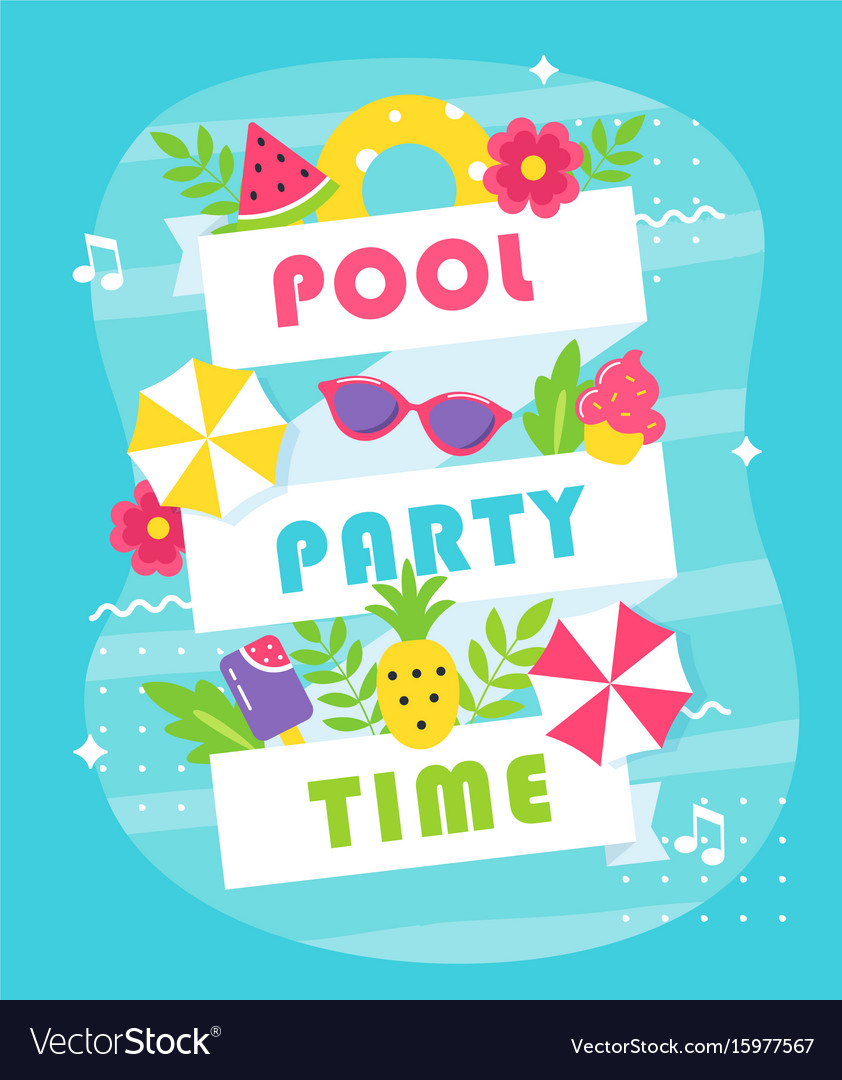 Summer pool or beach party poster or invitation