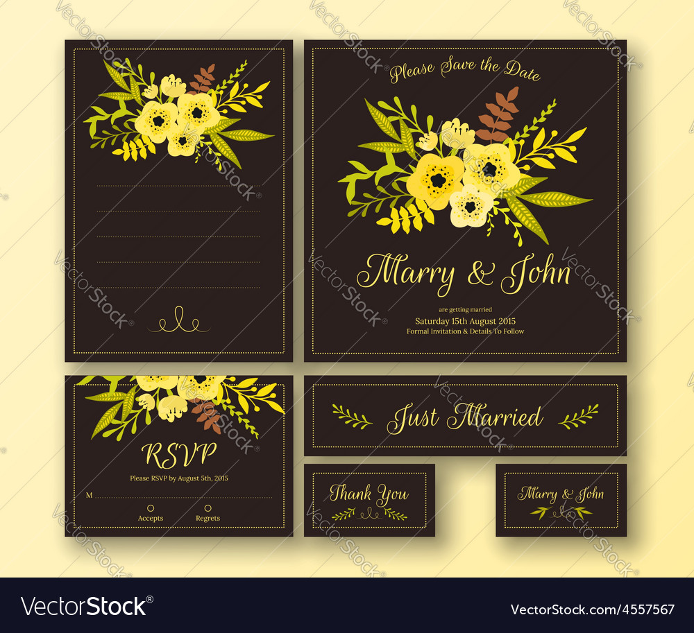 Wedding set various cards vector