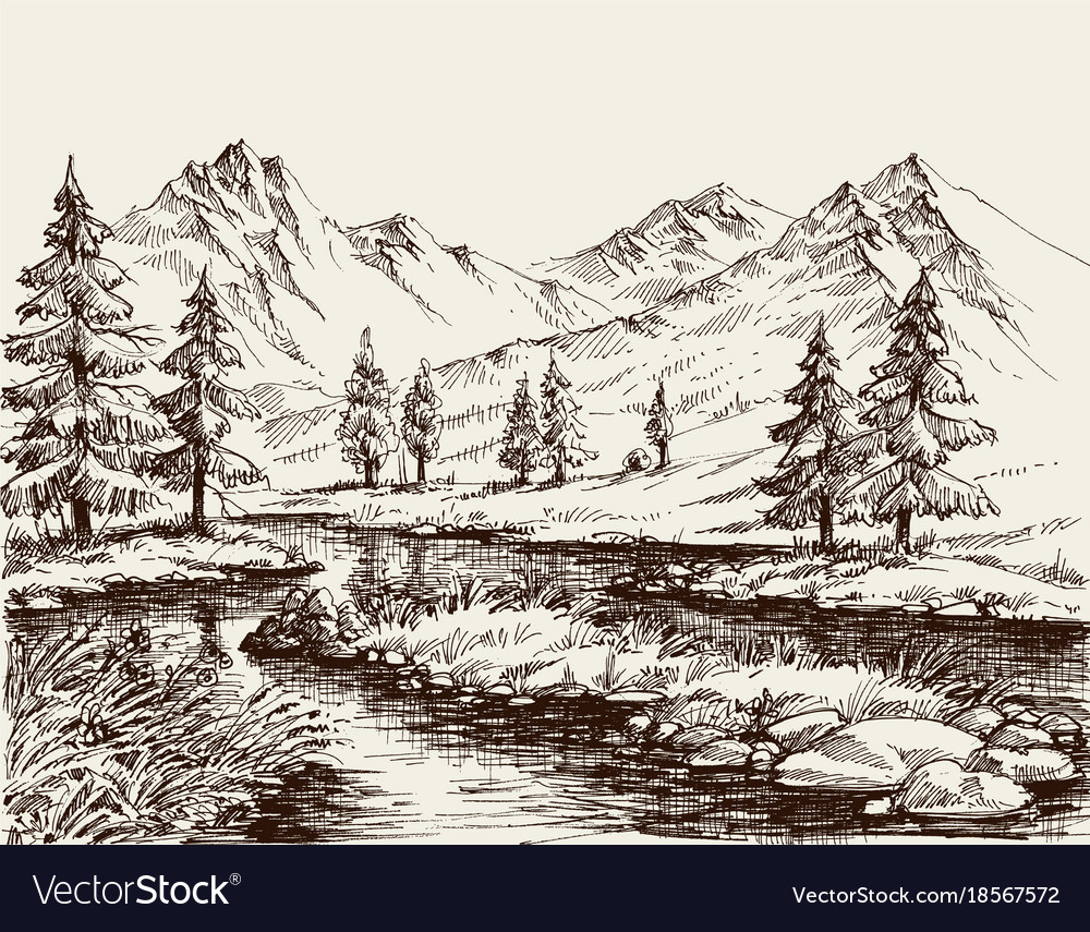 A river in the mountains sketch