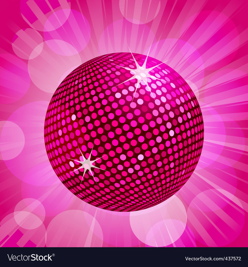 Abstract Pink Disco Ball Background Vector Image