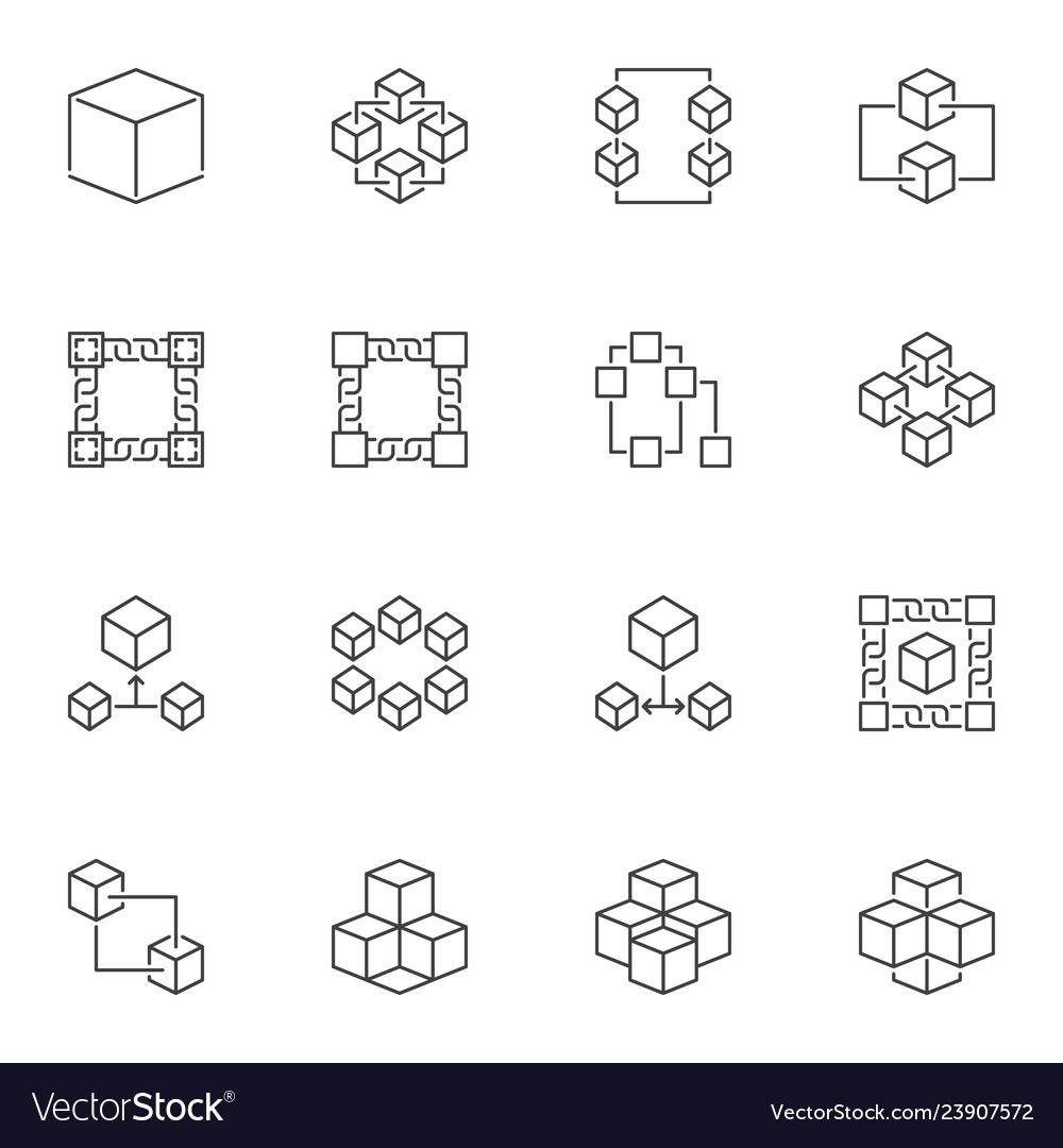Blockchain icons or logo elements in