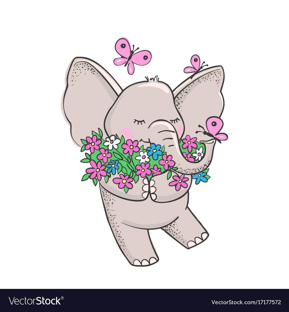 Cute hand drawn elephant with flowers