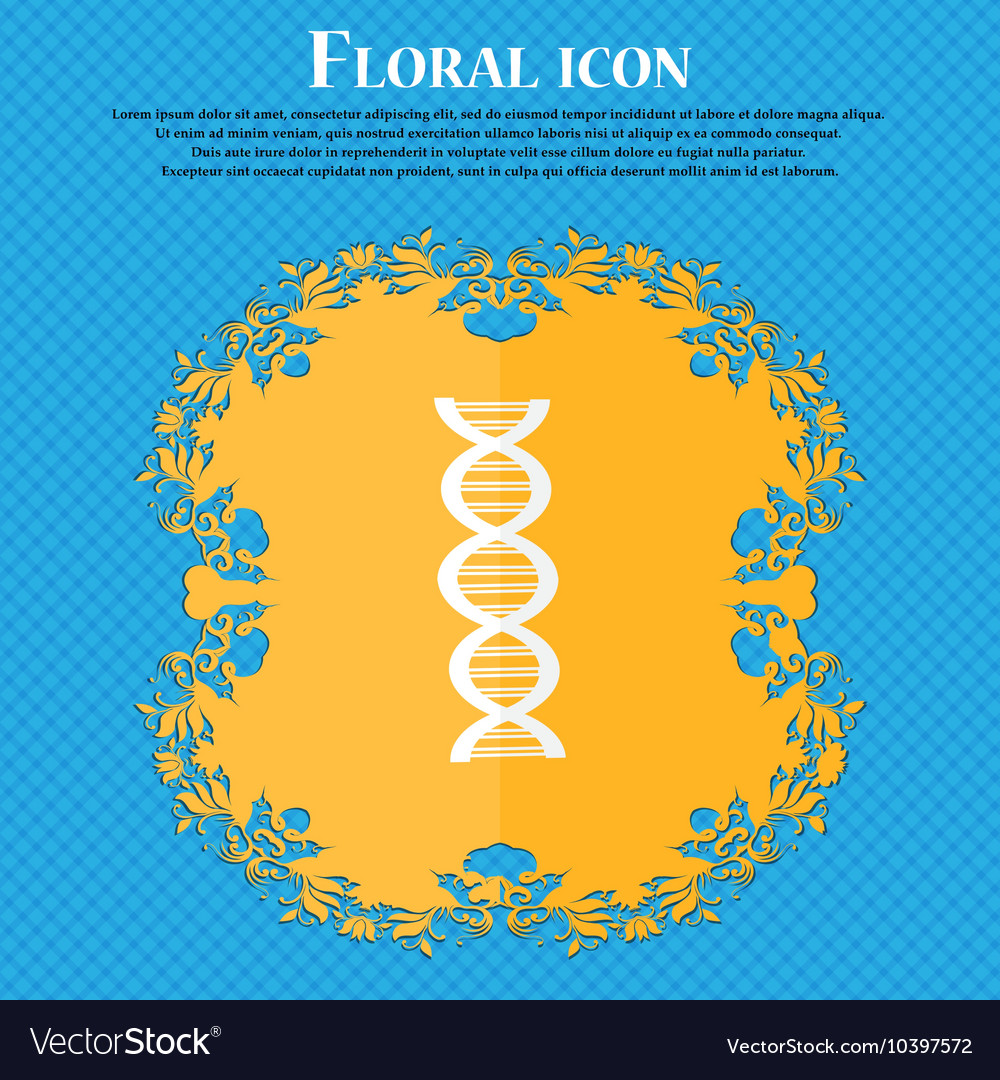 DNA icon Floral flat design on a blue abstract