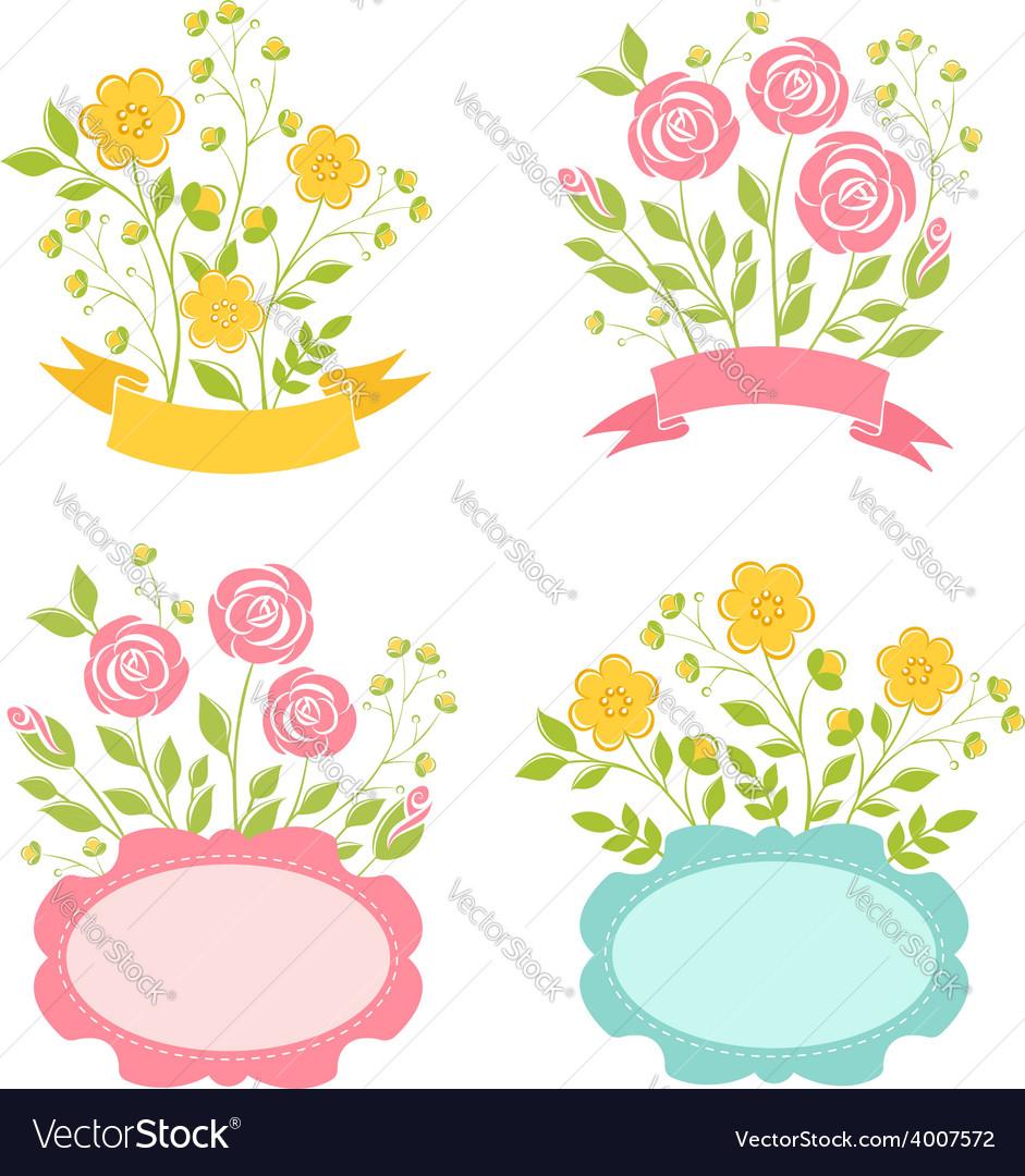 Floral romantic frames set