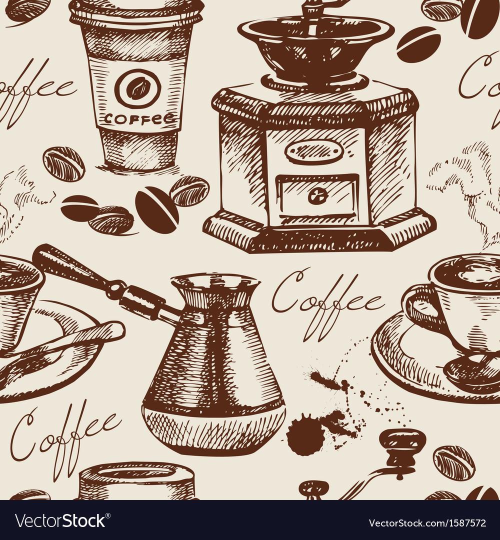 Hand drawn vintage coffee seamless pattern