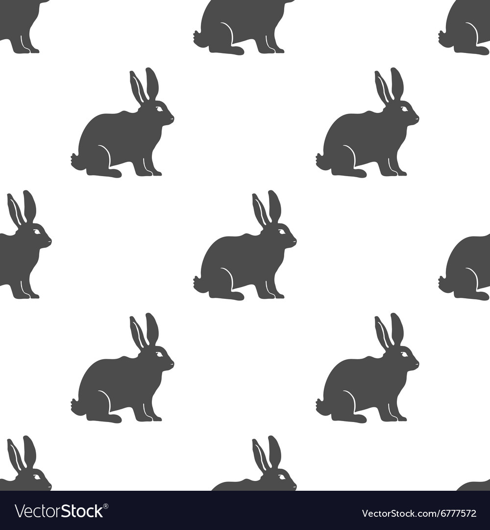 Hare or Rabbit silhouette seamless pattern
