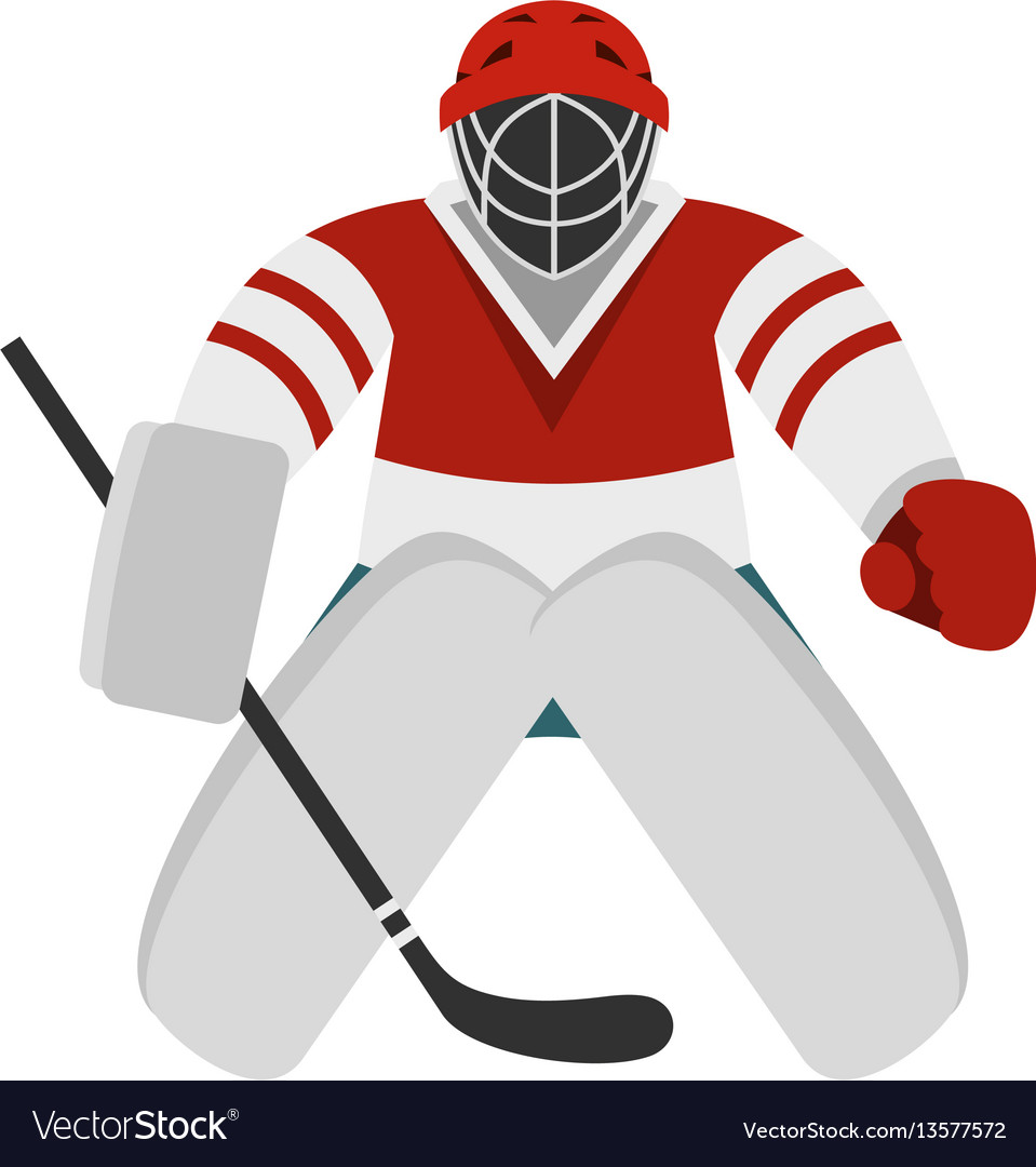 Hockey Goalkeeper Icon Flat Style Royalty Free Vector Image