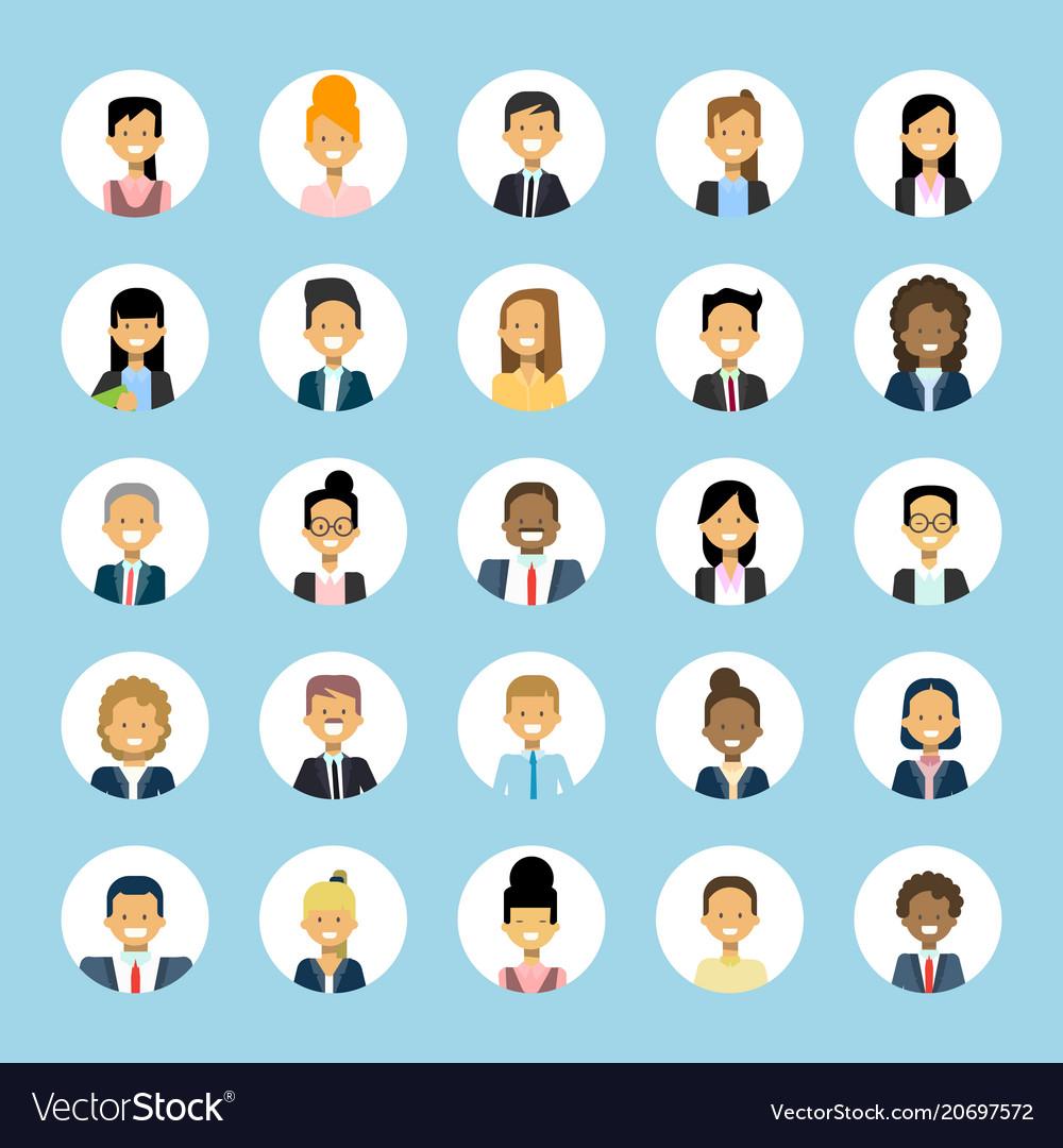 Man and woman avatars set businessman and