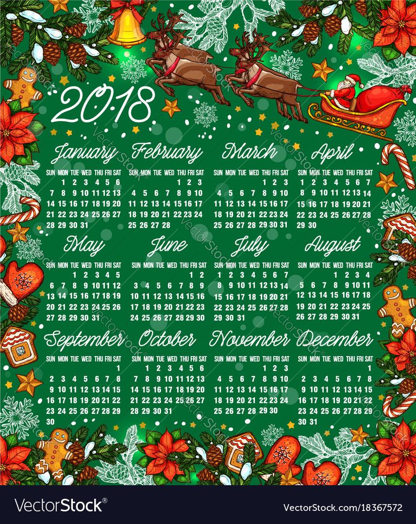 merry christmas sketch 2018 calendar vector image