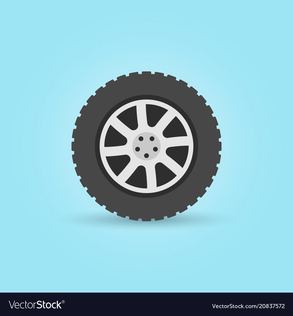 Modern flat car wheel icon on blue