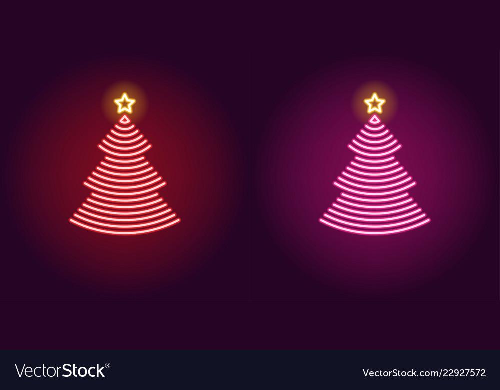 Neon christmas tree glowing xmas tree