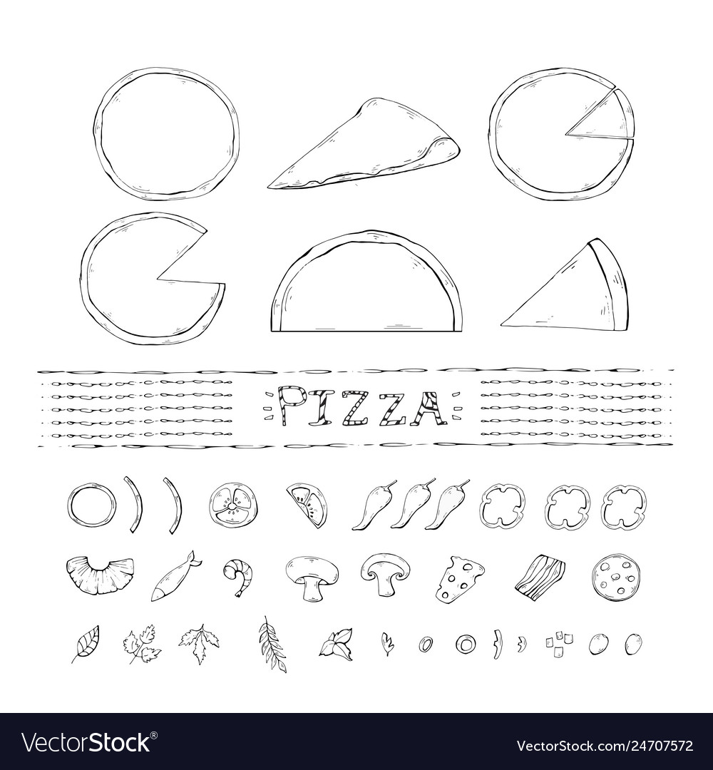 Pizza setcollection with with various