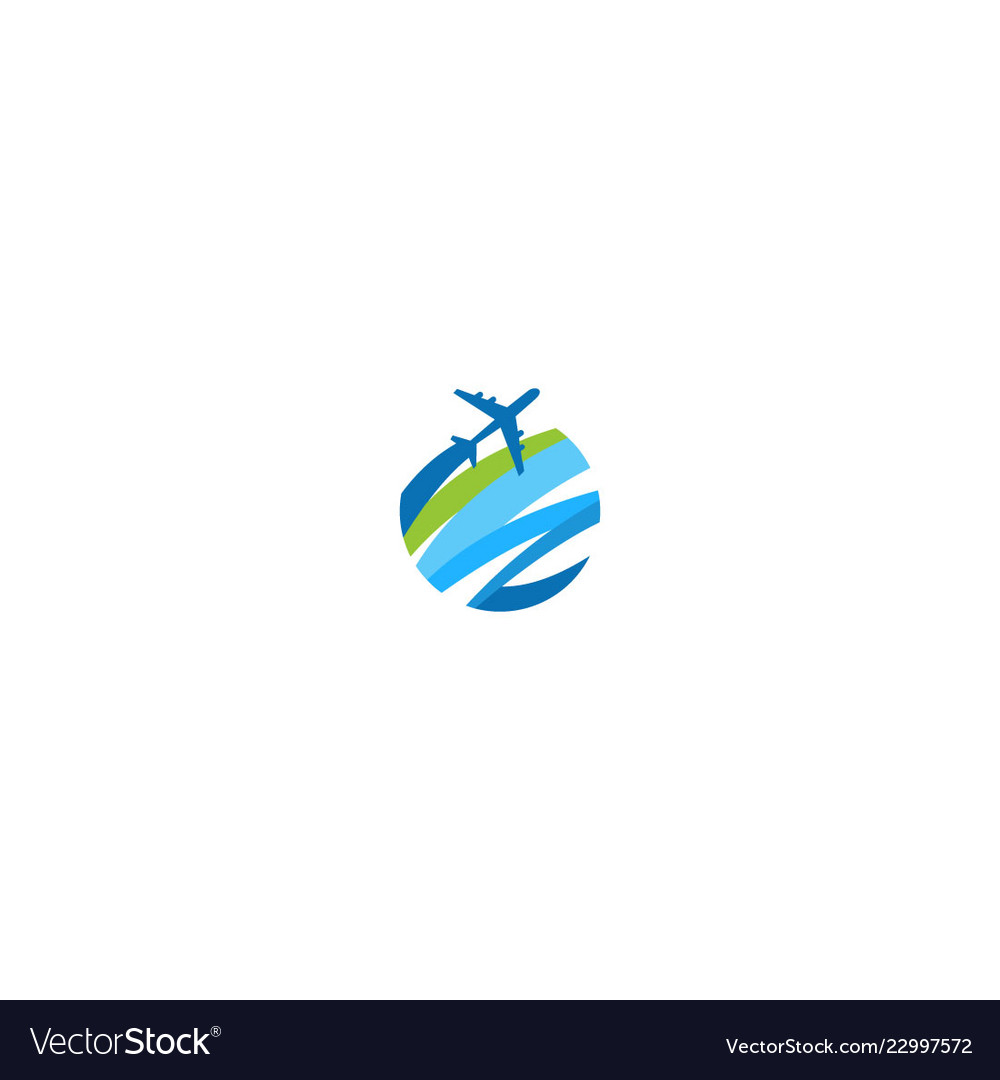 Plane travel round abstract logo