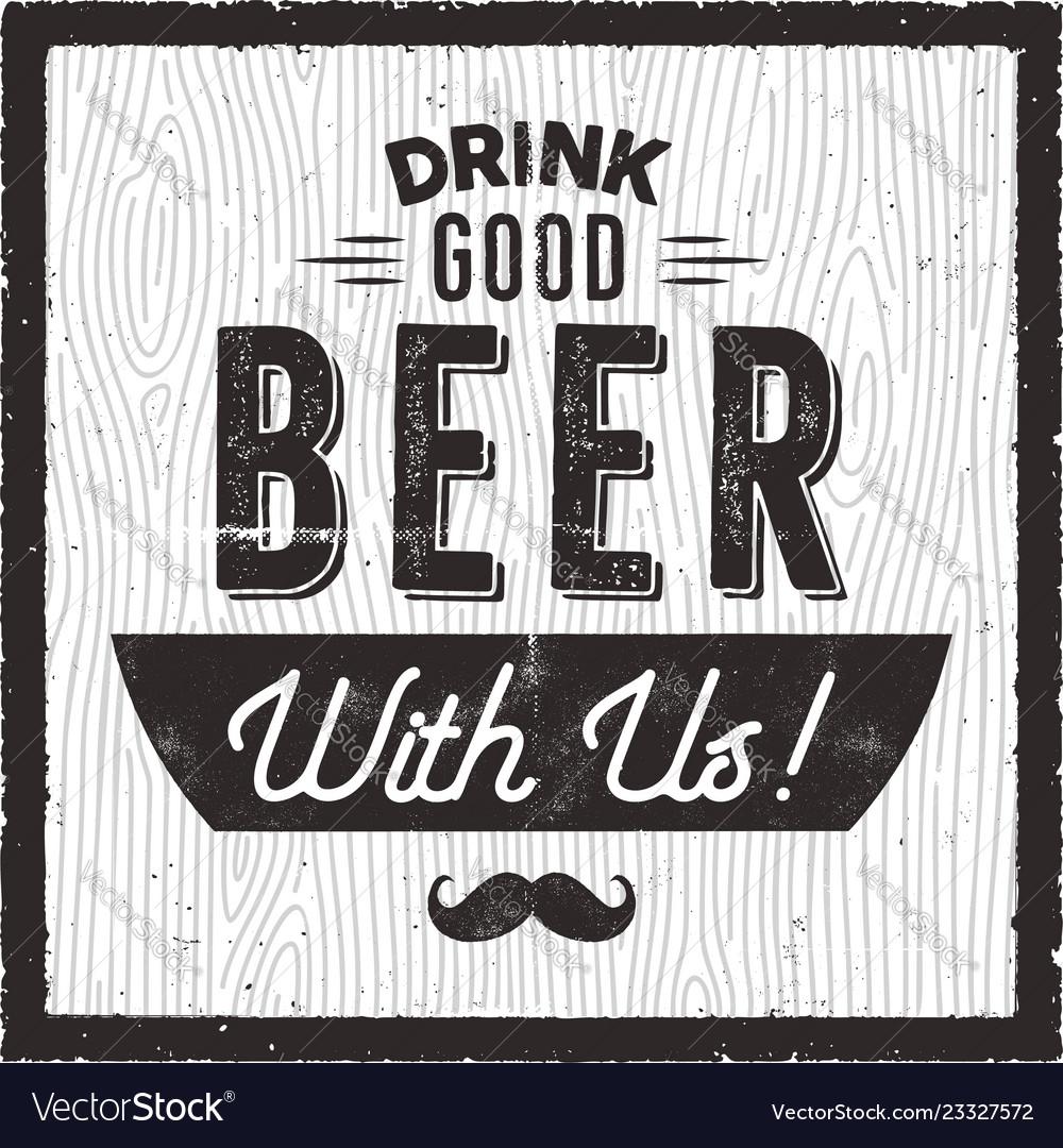 Retro beer card craft brewery pub poster design